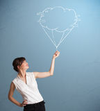 Pretty lady holding a cloud balloon drawing Royalty Free Stock Images