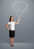 Pretty lady holding a cloud balloon drawing Stock Image