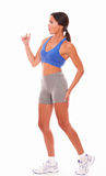 Pretty lady jogger touching leg injury Stock Images