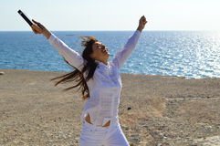 Pretty lady jumping with joy Royalty Free Stock Images