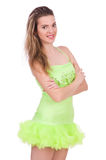 Pretty lady in light charming dress isolated on Royalty Free Stock Photography