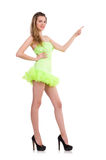 Pretty lady in light charming dress isolated on Stock Photography