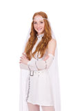 Pretty lady in light charming dress isolated on Royalty Free Stock Images