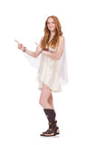 Pretty lady in light charming dress isolated on Stock Photos