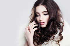 Pretty Lady. Makeup and Curly Hair Royalty Free Stock Photography