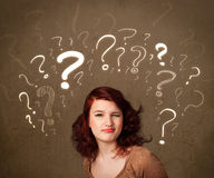 Pretty lady with question symbols Stock Photo