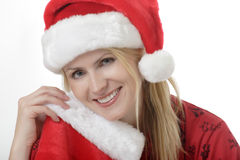 Pretty lady in Santa hat Stock Photos
