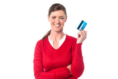 Pretty lady showing her cash card Stock Photography