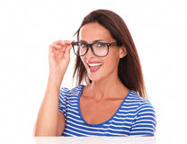 Pretty lady smiling and wearing spectacles Stock Photography