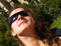 Pretty lady with sunglasses Stock Images