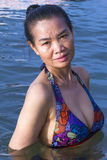 Pretty lady swimsuit in water Royalty Free Stock Photos