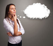 Pretty lady thinking about cloud speech or thought bubble with c Royalty Free Stock Photography