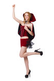 Pretty lady in velvet bordo dress with cap Royalty Free Stock Photography