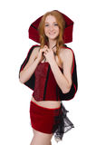 Pretty lady in velvet bordo dress with cap Royalty Free Stock Photo