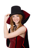 Pretty lady in velvet bordo dress with cap Stock Images