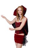 Pretty lady in velvet bordo dress with cap Royalty Free Stock Photos
