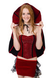 The pretty lady in velvet bordo dress with cap Royalty Free Stock Photo