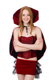 The pretty lady in velvet bordo dress with cap Royalty Free Stock Images