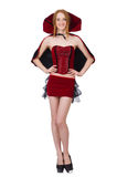 The pretty lady in velvet bordo dress with cap Royalty Free Stock Image