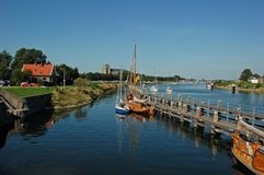 Pretty landscape with boats stock photo