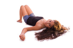 Pretty Latin Teen Girl Lying Stock Photography