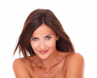 Pretty latin woman smiling at camera stock photos
