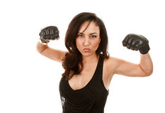 Pretty Latina Woman With Boxing Gloves Stock Image