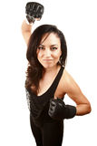 Pretty Latina Woman with Boxing Gloves Stock Photo