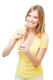 Pretty laughing girl with horn Royalty Free Stock Photography