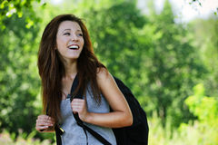 Pretty laughing girl wearing Stock Photography