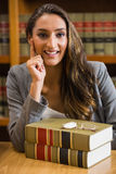 Pretty lawyer in the law library Royalty Free Stock Image