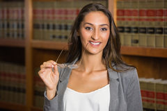 Pretty lawyer in the law library Royalty Free Stock Photo