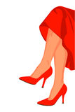 Pretty legs. Legs of a woman with red pumps Stock Photo