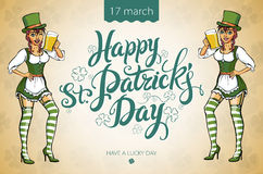 Pretty leprechaun girl with beer, St. Patrick's Day logo design with space for text,  Royalty Free Stock Images