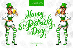Pretty leprechaun girl with beer, St. Patrick's Day logo design with space for text,  Stock Images