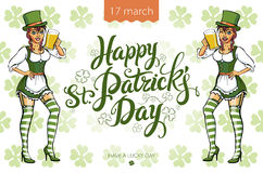 Pretty leprechaun girl with beer, St. Patrick's Day logo design with space for text,  Royalty Free Stock Photos