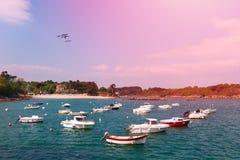Pretty light on a Breton port royalty free stock photo