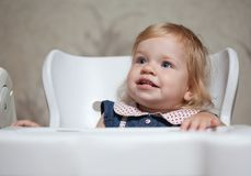 Pretty litle girl waiting dinner Stock Photography
