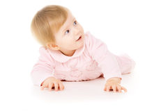 Pretty little baby learns to crawl Royalty Free Stock Photo