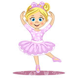 Pretty little ballerina. Cute vector girl in pointe. Stock Photography