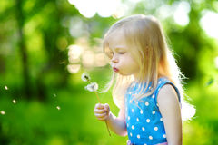 Pretty little blonde girl blowing off a dandelion Stock Photography