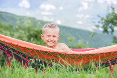 Pretty little boy in hammock Royalty Free Stock Photos