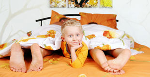 In parents bed Royalty Free Stock Photo