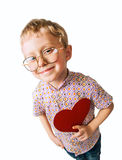 Pretty little boy with paper heart Stock Photos