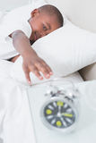 Pretty little boy wake up at morning in bed Royalty Free Stock Images
