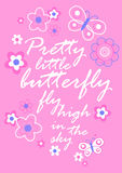 Pretty little butterfly with flowers embroidery Stock Images