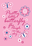 Pretty little butterfly. Vector illustration of butterflies with a poem Royalty Free Stock Photography