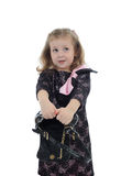 Pretty little child girl with empty bag Royalty Free Stock Images