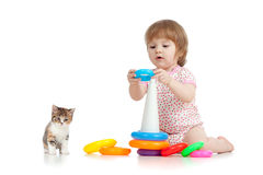 Pretty little child or kid playing with color toy Royalty Free Stock Images