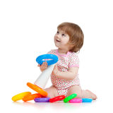 Pretty little child or kid playing with color toy Royalty Free Stock Photos